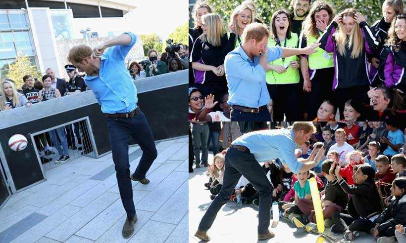 Prince Harry shows off his dance moves and football skills: All the best pics from his day in Scotland