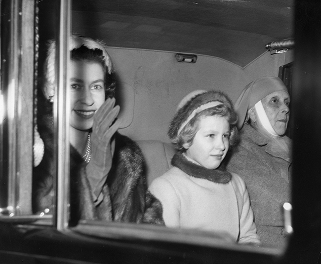 Prince Philip's mother, Princess Alice, pictured with the Queen and Princess Anne