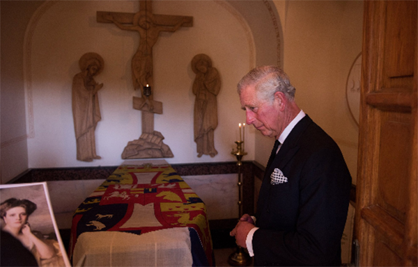 Prince Charles visits the grave of his paternal grandmother, Princess Alice