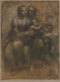 Leonardo da Vinci, Virgin and Child with St Anne and St John the Baptist