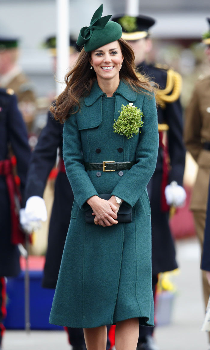 <p>Kate shined at the St. Patrick's Day parade in 2014, where she teamed one of her wardrobe staples, a structured coat, with an asymmetrical fascinator and shamrock pin.