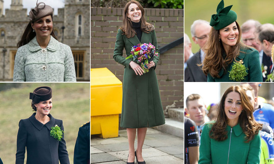 <p>Since taking her place as the <b>Duchess of Cambridge, Kate</b> has only missed one outing to the 1st Battalion Irish Guards St. Patrick's Day parade. Fans love seeing what green ensemble the stylish royal chooses to wear each year as she pins shamrocks to the guards' uniforms.