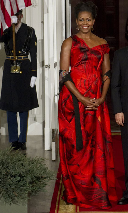 images Michelle Obama stuns in red Jason Wu gown at president's inauguration ball