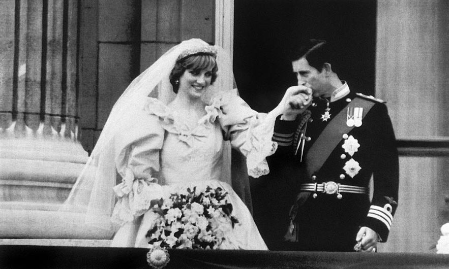 Princess Diana and Prince Charles pose following their wedding ceremony in 1981
