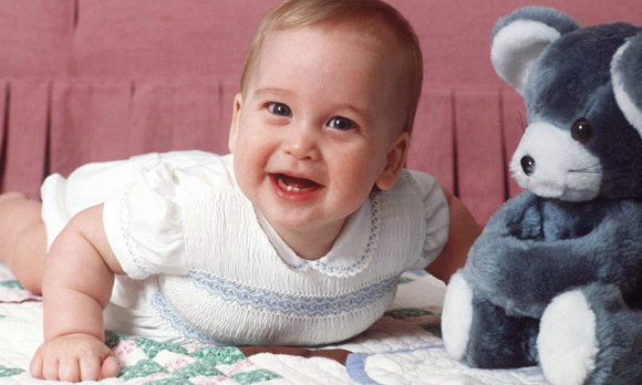 Pictured in Kensington Palace in 1983 at six months old.