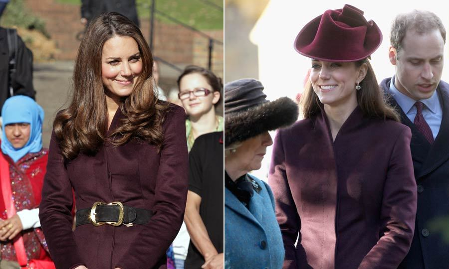 Kate made this maroon coat much less conservative by adding a wide belt – and taking away the hat and gloves – during her visit to a children's school. <br>