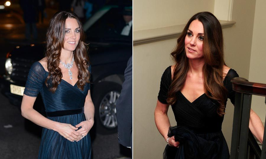 Jenny Packham is one of Kate's favorite designers. The royal has worn this beautiful ruched gown a total of 3 times now, twice in London and at a December 2014 dinner at the Metropolitan Museum of Art in New York City. It looks great both with a cascade of diamonds, and without.<br>