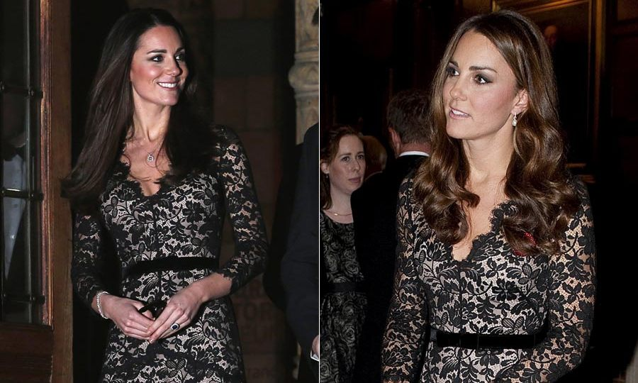 Kate looked stunning in this black lace Temperley dress so it is no surprise that she wore it again. She first wore it on the eve of her 30th birthday then nearly a year later to host a dinner in London. <br>