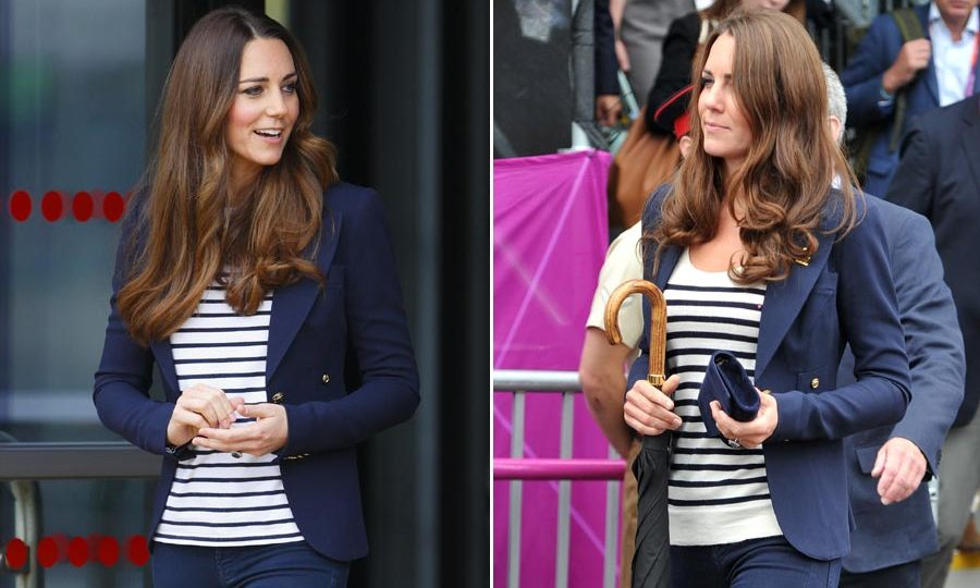 As well as wowing in stunning dresses and coats, Kate can also pull off casual-chic with the simple addition of her favorite navy blue blazer, which she likes to pull on with a striped top and jeans. <br>