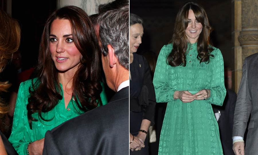 The Duchess of Cambridge looked stunning both times she wore this green Mulberry dress, the first time to attend a Diamond Jubilee party and then to open the Natural History Museum's Treasures Gallery.