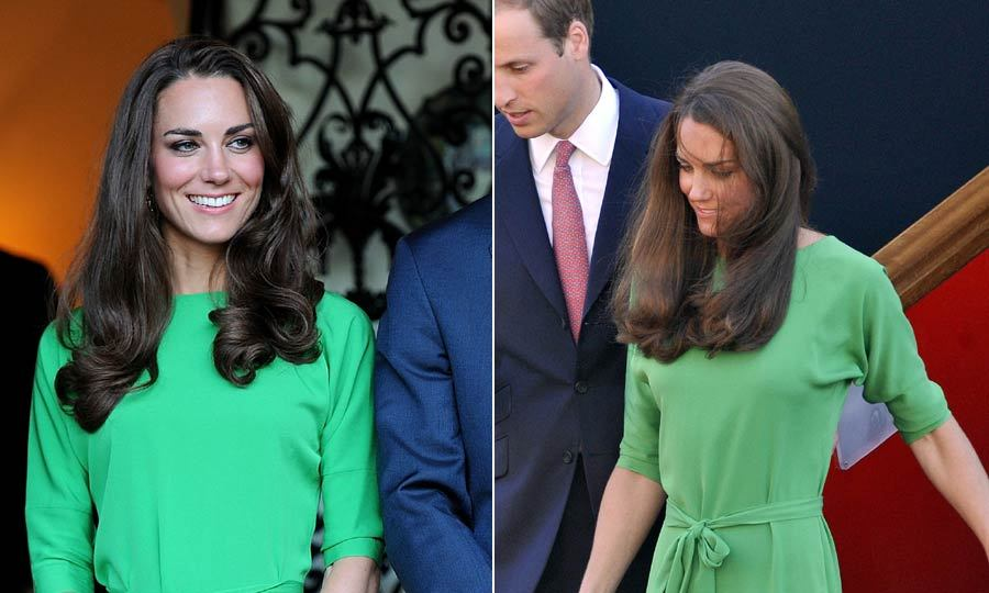 With this green dress proving a hit when she wore it to Zara Phillip's pre-wedding drinks party on July 8, 2011, Kate then decided to take it with her with on her visit to Canada later on that month.