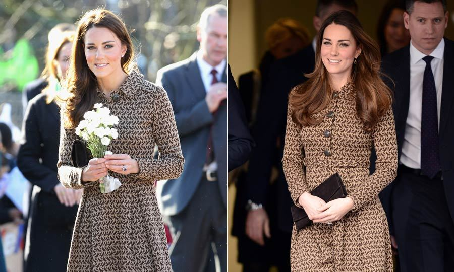 Kate chose to wear this brown Orla Kiely patterned dress to visit the Only Connect program in November 2013 and also for a visit a school in February 2012.