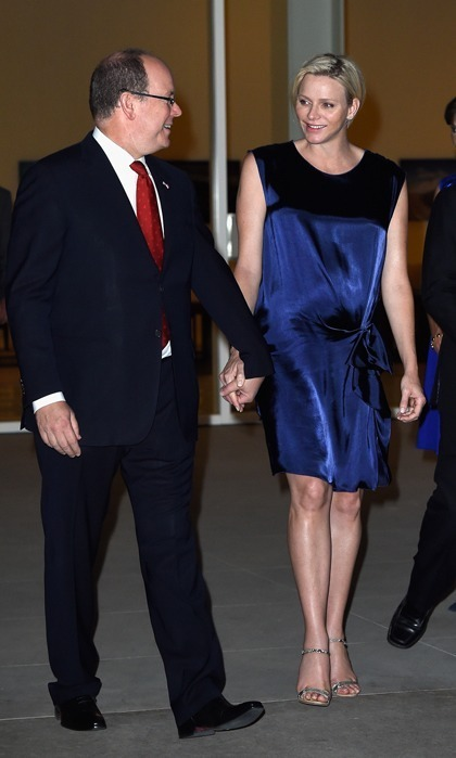 The next day, the princess dazzled at Monaco's Foundation Award Ceremony in Palm Springs wearing a navy blue silk cocktail dress.