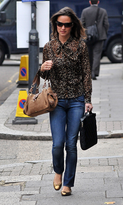 Pippa rarely wears prints, but when she does, like with this animal-print blouse, she looks chic and put together.