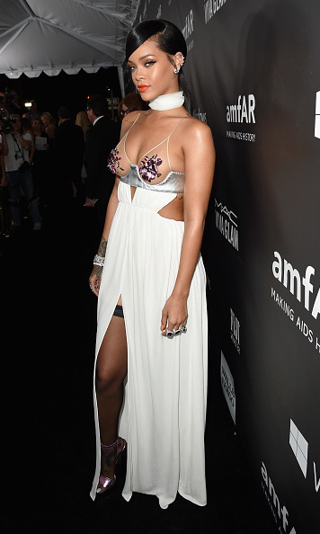 Rihanna and Miley Cyrus show off risqué style at amfAR gala