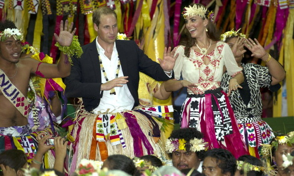 Prince William and Duchess Kate danced with the locals at the Vaiku Falekaupule in Tuvalu in 2012.