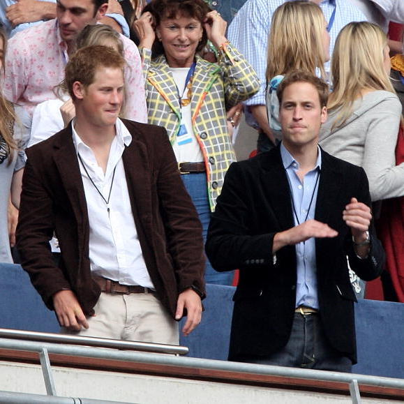 Princes Harry and William danced in the crowd during the Concert for Diana in 2007 at Wembley Stadium in London.