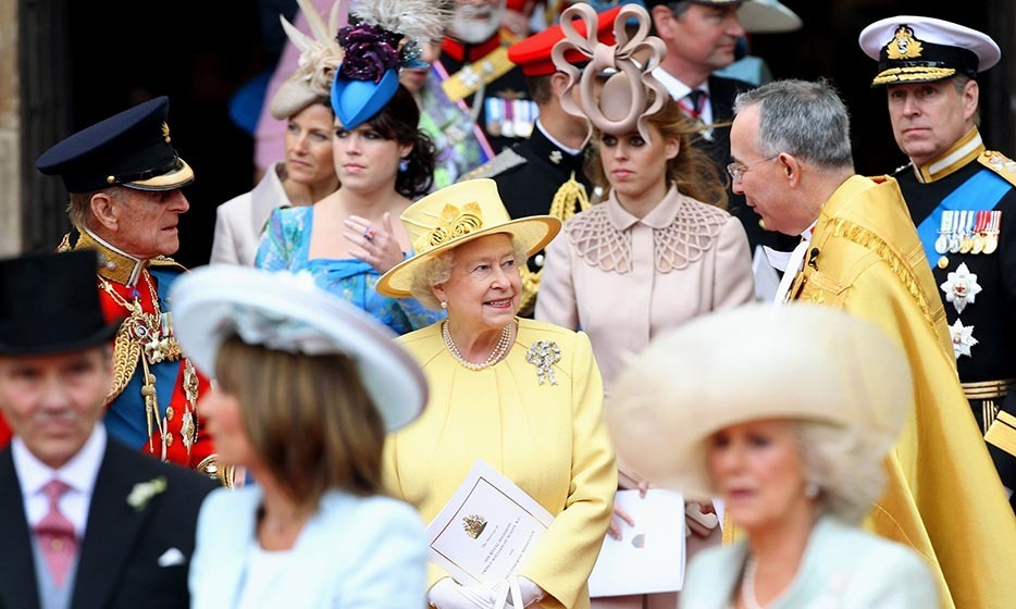 The Queen, surrounded by members of the royal family, following the marriage of her grandson and granddaughter-in-law.
