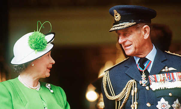 Queen Elizabeth ll and Prince Philip chat during the Gulf Parade in London in June 1991.