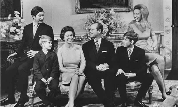 Queen Elizabeth II and Philip are pictured with their children (left to right): Charles, Prince of Wales, Prince Edward, Prince Andrew and Princess Anne, celebrating their silver wedding anniversary at Buckingham Palace in 1972.
