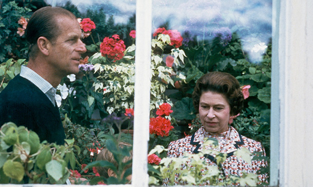 In 1972, Queen Elizabeth II and Prince Philip pay a visit to a greenhouse at the Balmoral estate in Scotland.