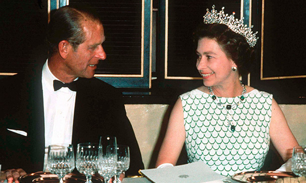 Queen Elizabeth and Prince Philip attend a State banquet in 1970.