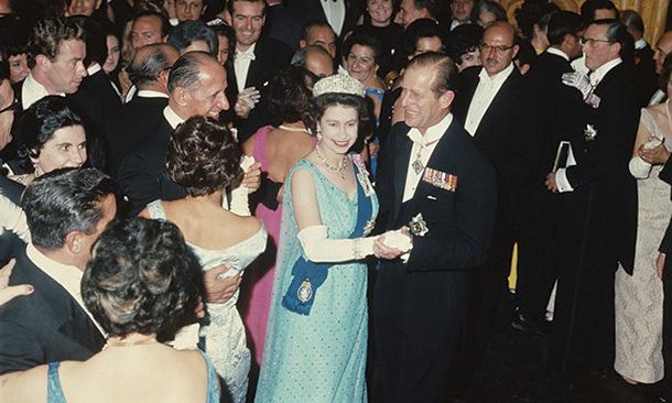 Queen Elizabeth II and Prince Philip dance at a state ball during a Commonwealth Visit to Malta in 1967.