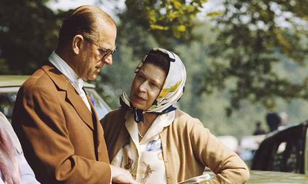 The Queen and Prince Philip are seen chatting together during the 1982 The Royal Windsor Horse Show.