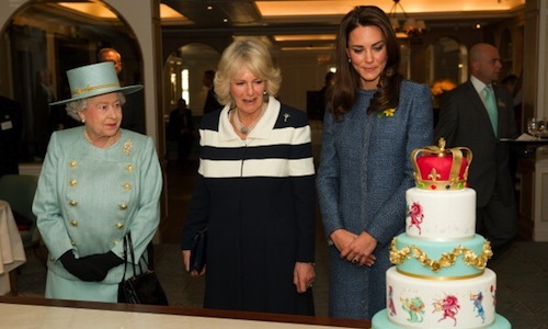The Queen, Camilla and Kate Middleton seemed impressed by this colorful cake during a March 2012 photo-op in London.