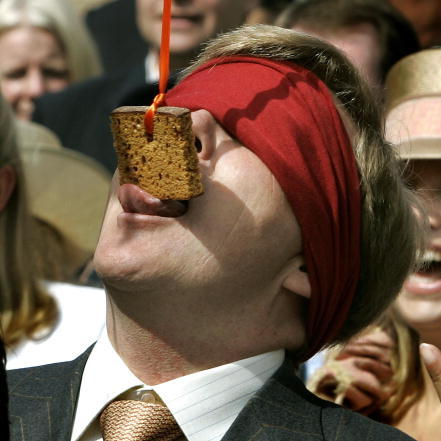 Dutch King Willem Alexander, then a Prince, participated in a cake-eating contest in April 2005.