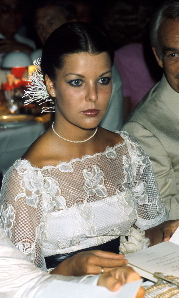 Caroline looked stunning in lace in 1976.