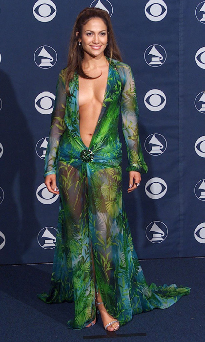 Jennifer Lopez pulled out all the stops for her 2000 appearance at the Grammys, stepping out in a plunging green dress. The exotic Versace number was made of silk chiffon and fastened together at the midriff with a glittering brooch. The dress was so iconic it earned a place in The Grammy Museum in Los Angeles.