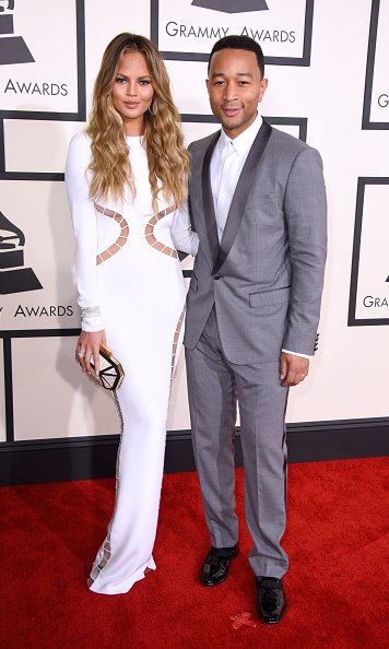 Chrissy Teigen in Emilio Pucci with John Legend