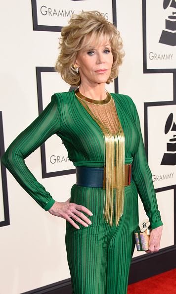 Jane Fonda in Balmain jumpsuit
