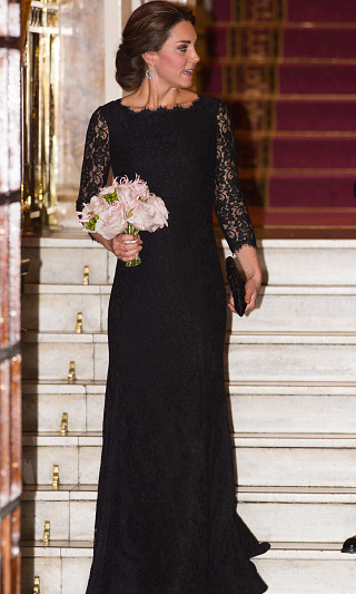 Kate shows off her growing baby bump at the Royal Variety Performance on November 13 in London in this Diane von Furstenberg lace gown with quarter-length sleeves. 