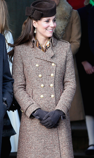 No ugly Christmas sweaters for this royal family member. She stepped out in a stylish tweed coat for Christmas Day Service at Sandringham Church. 