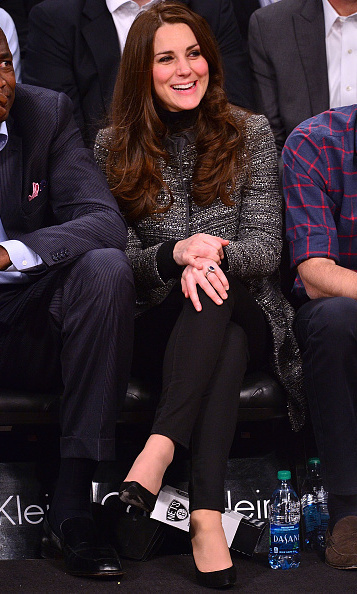 Even her casual looks are fashionable. The Duchess of Cambridge checked out a Brooklyn Nets game at Barclays Center on December 8 wearing a Tory Burch coat over J.Crew Toothpick black jeans. 