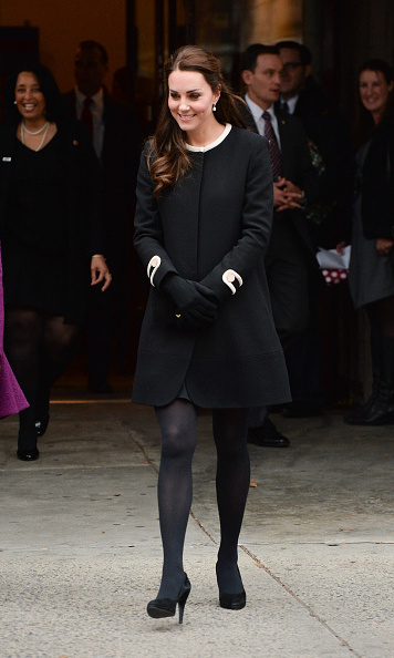 During her official visit to New York City in December, Kate donned a number of stylish looks including this black Goat coat with Corneila James Imogen merino wool gloves on December 8. 