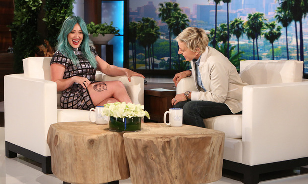 Hilary Duff S Sparks Video Singer Rocks Blue Hair In: Hilary Duff Reveals Her Many Tattoos, Talks Loving Her