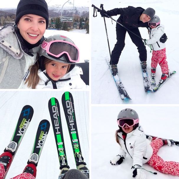 """So grateful for this past week in #Aspen with my family,"" Ivanka captioned this photo of her husband and daughter hitting the slopes.