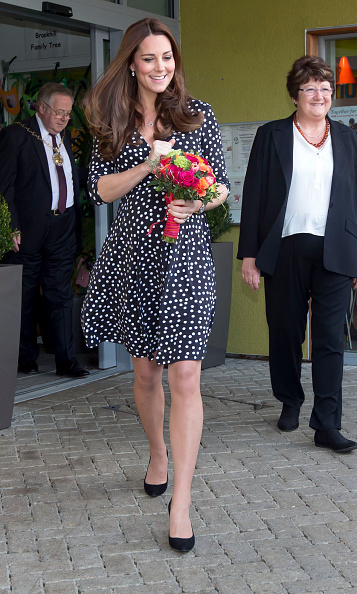 With a little over a month left in her pregnancy Kate visited the Brookhill Children's Center in Woolwich on March 18 in a $63 black-and-white polka-dot dress from ASOS maternity.