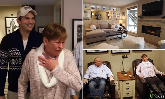 Ashton kutcher surprises mum by secretly transforming his childhood home - A dream basement ashton kutchers surprise for his mom ...