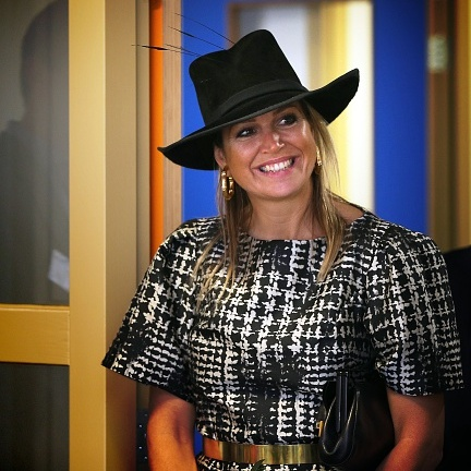 Máxima opted for a cowgirl topper at the opening of the Community School Joure South in the Netherlands.