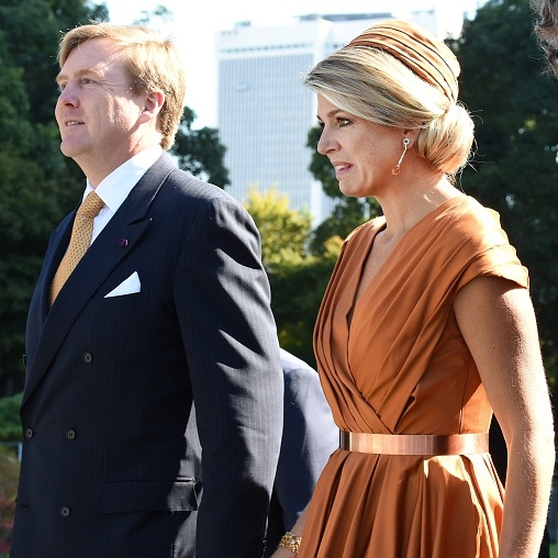 The Dutch royal elegantly arrived at a museum in Tokyo wearing a bronze ruched calot to match her metallic look for the evening.