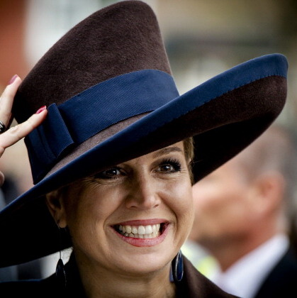 Her highness showed off an angular hat during the official opening of Campus Hoogvliet in Rotterdam.