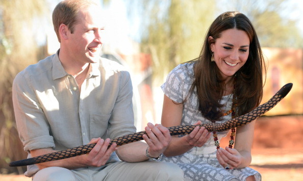Kate enjoyed a giggle with her husband while learning about local customs in Australia.