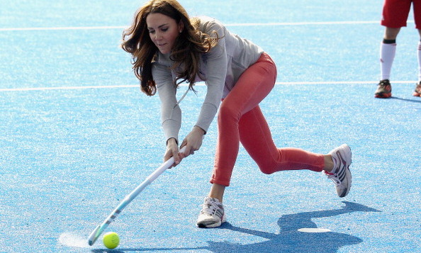 Kate showed off her athletic skills by playing around of field hockey.