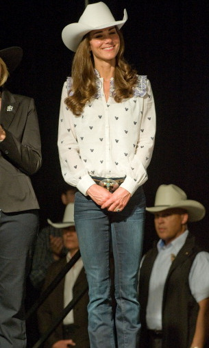 Showing off her country side, Kate rocked a cowboy hat and belt buckle.