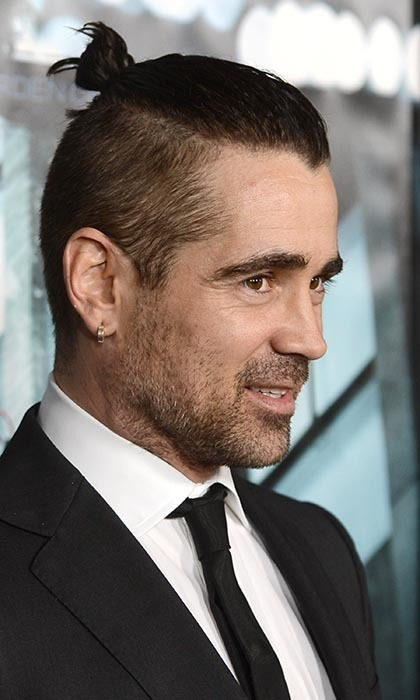 "<a href=""http://us.hellomagazine.com/tags/1/colin-farrell/""><strong>Colin Farrell</strong></a> opted for an edgy style and high top knot at the Hollywood premiere of <i>Dead Man Down</i>.