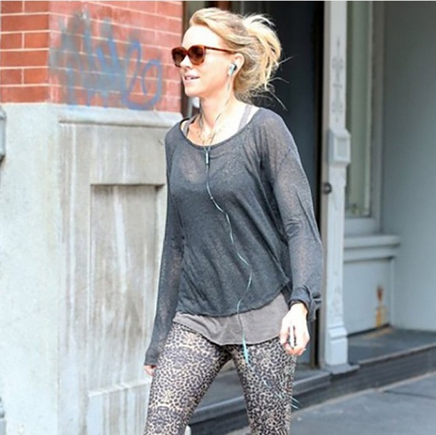 Actress Naomi Watts went wilder and opted for a pair of leopard print cropped leggings from Live the Process. 
